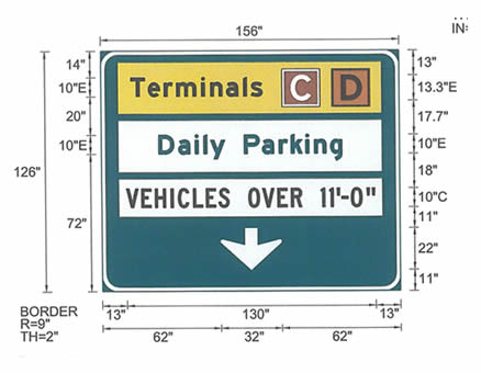 Airport sign fabrication with specifications - CMF Long Island City, NY